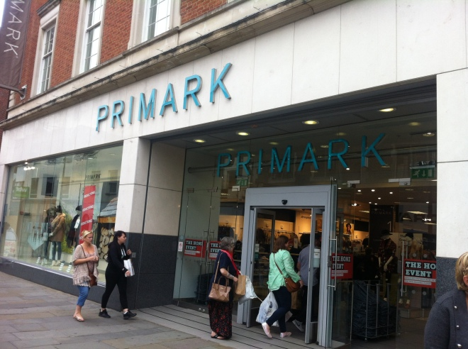 Entrance to Primark with people going in
