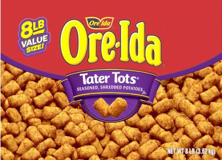 A box of Ore-Ida Tater Tots